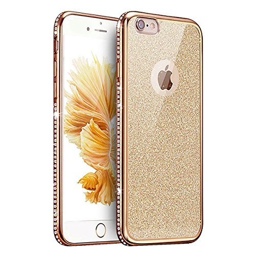 iPhone 6 Custodia, iPhone 6s Cover, MAOOY Colorato Soft TPU Silicone Moda Luccichio Case con Glitter Bling Flash Strass Plating Edge Border Clear Ultra Sottile Leggera Protettivo per 4.7Apple iPhone Gold