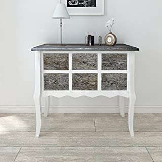 Anself Console Cabinet 6 Drawers Wood White