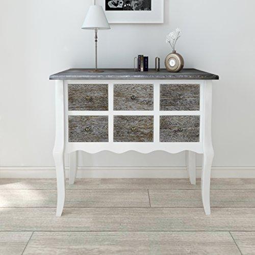 Festnight tavolo consolle allungabile tavolino laterale in legno con 6 cassetti bianco