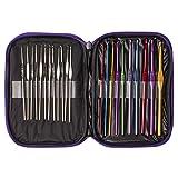 SAVFY® Lot de 22 Crochets Laine Aiguilles à Tricoter Metal en Aluminium de 2mm à 6.5mm Multi Couleur Tricot Laine Pull Hook avec étui Violet