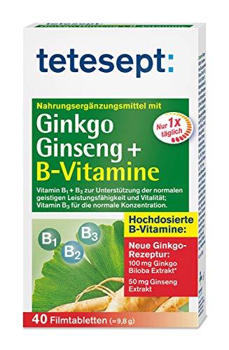 tetesept Ginkgo, Ginseng + B-Vitamine – Nahrungsergänzung zur Unterstützung von Konzentration, geistiger Leistungsfähigkeit & Gedächtnis – 40 Tabletten