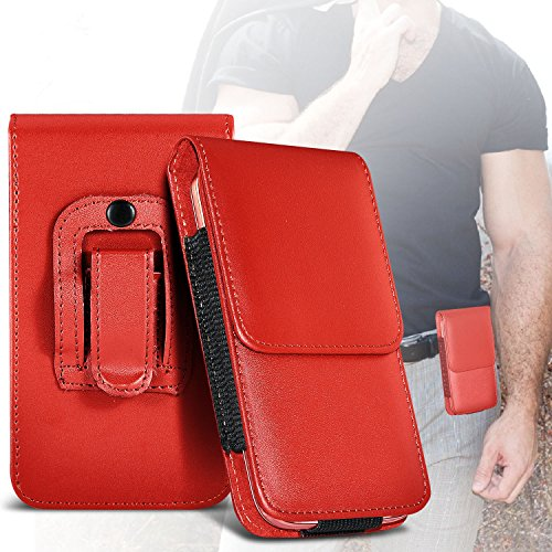 ( RED ) Apple iPhone 5 Stylish Faux Leather Belt Holster Flip Pouch Case Cover Holder And Premium Quality in Ear Buds Stereo Hands Free Headphones Headset with Built in Microphone Mic and On-Off Butto Roter Gürtel Lasche