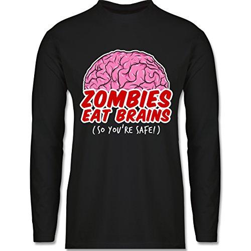 Shirtracer Halloween - Zombies Eat Brains - So You´re Safe! - Herren Langarmshirt Schwarz
