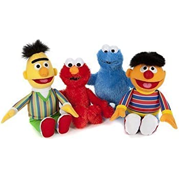 7604366175 SESAMSTRASSE PELUCHE FIGURINES 4 Lot Bert, Elmo, Ernie, macaron 21cm ...