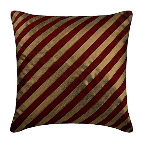 Seide Luxus Streifen (Luxus Rot zierkissenbezüge, Streifen Strukturierte Pintucks sofakissen, 40x40 cm kissen, Platz Seide kissen, Gestreift zeitgenössisch sofakissenbezüge - Unfolding Red Copper)