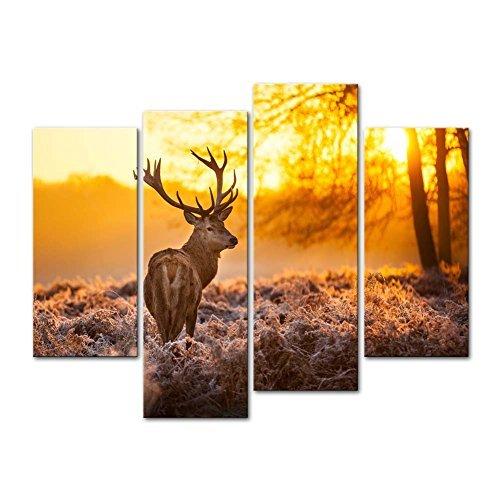 Impresión lienzo pared imagen ciervos bosque otoñal