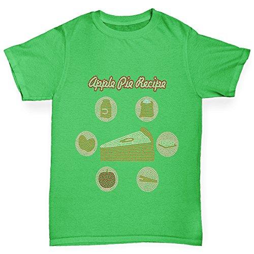 TWISTED ENVY Jungen T-Shirt Apple Pie Recipe Rhinestone Diamante Stass Age 12-14 Grün (Herren Apple Grn)