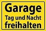 Schatzmix Garage Tag und Nacht freihalten Gelber Schild blechschild