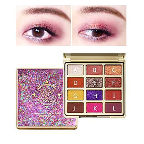 Hukz Novo Makeup Lidschatten Lidschatten-Palette Kosmetikset Lidschatten 12 Farben (A)