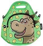 Fringoo® Isolierte Brotdose aus Neopren für Kinder; Thermo-Tasche mit Schultergurt und Reißverschlussfach; Snack Picknick Kindergarten Süß, Neopren, Dino - Lunch Bag, Regular