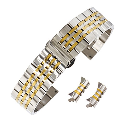 AUTULET Herren Edelstahl Uhrarmband Zweifarbiges Silber Und Gold 20mm