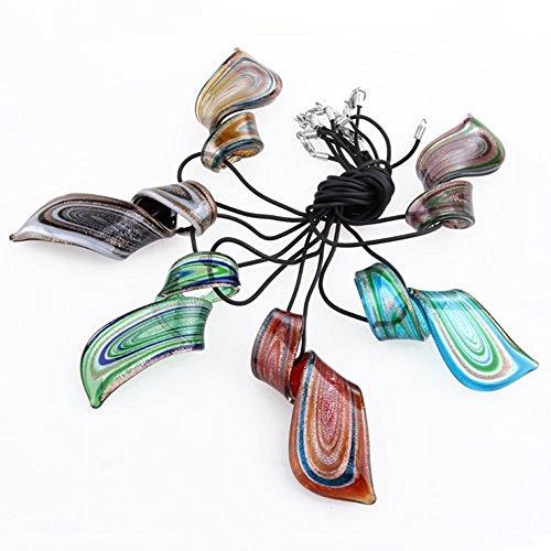ecloud-shop-6-x-murano-verre-feuille-dor-collier-pendentif-hot-trendy