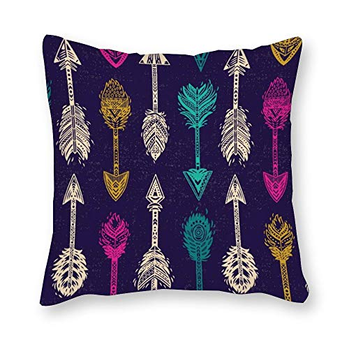 DKISEE Decorative Square Throw Pillow Cover Seamless Pattern with Native American Indian Pillow Case Cushion Protector for Couch, Sofa, Bedroom, Car, 18x18 inch/45x45cm Native American Indian Cover