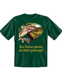 Pêcher né-le au travail forcé-fun-t-shirt-couleur :  vert foncé
