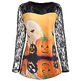 VEMOW Heißer Elegante Damen Frauen Halloween Kürbis Design T-Shirt Casual Täglichen Party Cosplay Bluse Spitze Einfügen Shirt Top(Schwarz 4, EU-42/CN-XL)