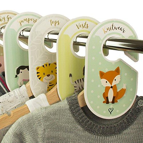 18 séparateurs pour penderie bébé Cozy Hedgehog - Pour ranger les vêtements par âge ou par type - Cadeau de naissance - Style unisexe - Animaux de le ferme/de la savane/des bois