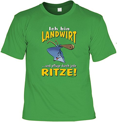 Witziges Sprüche Fun T-Shirt : Ich bin Landwirt ... und pflüge durch jede Ritze! (Bauer Damen Kostüme)