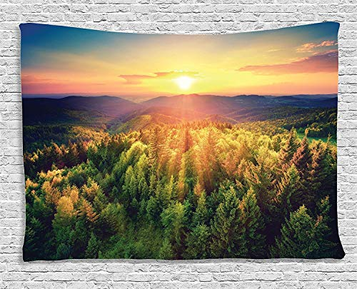 Mandala Tapisserie Nature Landscape Decor Collection Aerial of Scenic Sunset Over Forest Hills with Dramatic Colors in Horizon Print Home Bedroom Living Room Wall Hanging Tapestry 80W X 60L Inch -