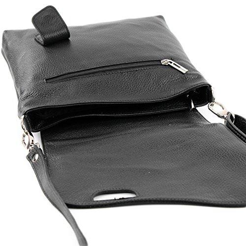 modamoda de -. cuoio ital Borsa da donna Messenger bag borsa a tracolla in pelle borsa NT07 2in1 Schwarz