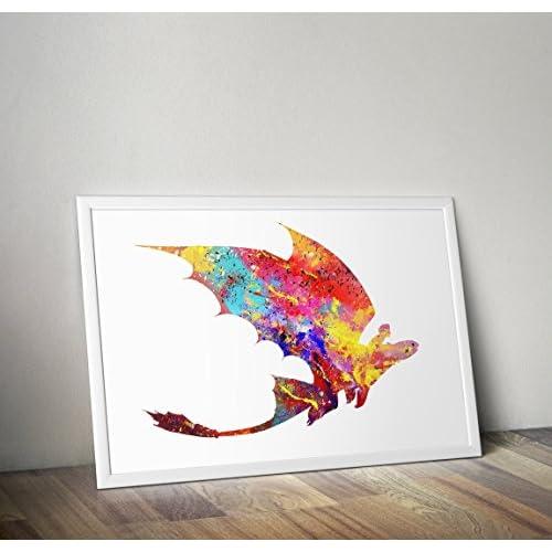 Cómo entrenar a tu dragón inspirado en la impresión de acuarela Póster / impresión - desdentado - Cita - Impresiones alternativas de TV / películas en varios tamaños (Marco no incluido) 9