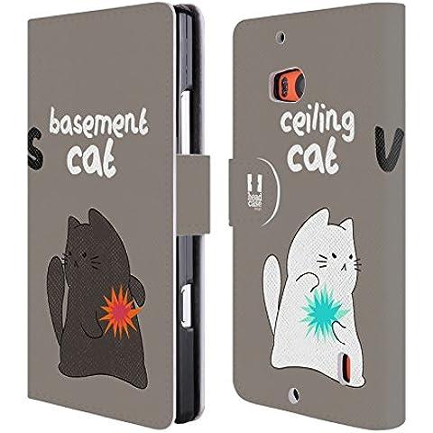 Head Case Designs Epic Battle Ceiling Cat Vs Basement Cat Cover telefono a portafoglio in (Pelle Epi Portafoglio)