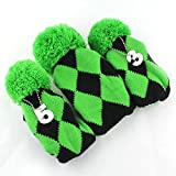 mamimamih Golf Club Knit Head Cover 3Schlägerhaube Set Vintange Pom Pom Socke, 1–3oder 5grün & schwarz