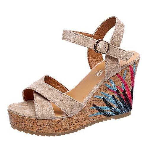 iYmitz Damen Keilabsatz Schuhe Mode Gürtelschnalle Sandalen Wedges Römersandalen Sandalen für Frauen Sommer Outdoor(Beige,EU 36.5)