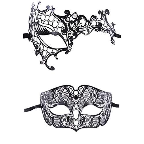Zhuhaijq Venezianische Kostüm Party Halbe Gesichtsmaske - Damen Glänzende Metall Strass Augenmaske Halloween Karneval Party Dekoration [Pack 2]