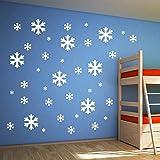 30pcs Blanco copo de nieve pegatina pared de la ventana de la decoración de la decoración del partido bebé de la habitación de los niños Caliente pegatinas decorativas del día de San Valentín romántico papel pintado