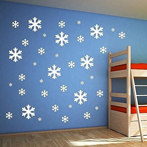 Lot de 30 coussinets flocon de neige de Noël mur Sticker fenêtre Fête de Noël Deocration by Ungfu Mall
