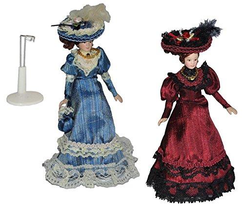 Unbekannt 2 TLG. Set Frau / Mutter - Puppe für Puppenstube Maßstab 1:12 - Porzellan Barock Kleid...