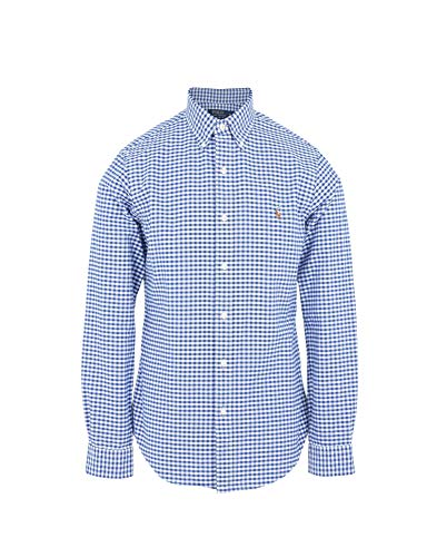 Polo ralph lauren camicia button down tessuto oxfod slim fit (xxl, quadri blu)