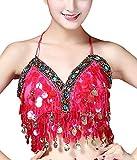 Aivtalk Costume Danse Indienne Femme Bra avec Sequins Haut de Danse Belly Dance Bra avec Monnaie Rembourré Danse Classique Top Soutien-Gorge Danse Orientale Déguisement TU Rose Rouge...