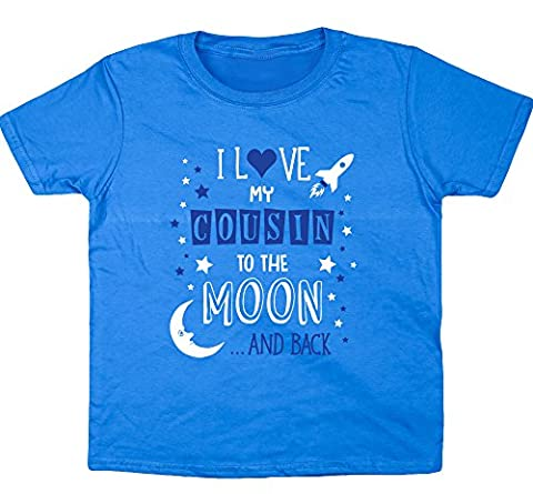 HippoWarehouse I Love My Cousin to the Moon and Back (Blue) kids short sleeve t-shirt