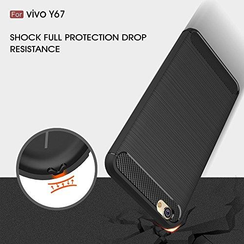EKINHUI Case Cover Dünn und leichtgewichtig gebürstet Carbon Faser robuste Rüstung zurück Deckel Stoßstange Fall Stoßfeste Drop Resistance Shell Abdeckung für VIVO Y67 ( Color : Black ) Gray
