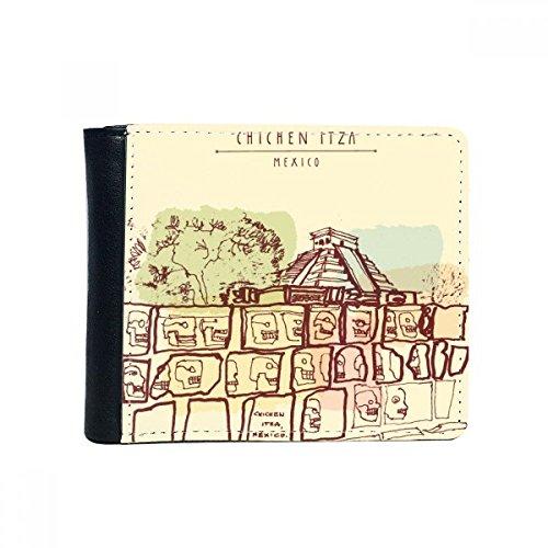 DIYthinker Flip Chichen Itza Mexiko Antike Kultur Zeichnung Bifold Kunstleder Geldbörse...