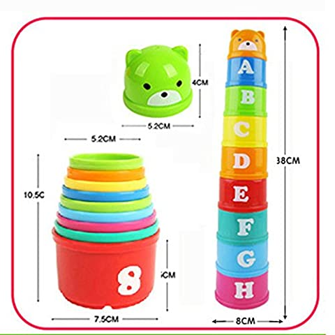 Seguryy Figures Letters Folding Cup Tower,Baby Fun Educational Toy Children
