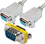 (1x) Null-Modem Anschlusskabel, D-Sub 9-pin Buchse auf D-Sub 9-pin Buchse, Länge:1,8 m, beige + (1x )Mini Gender-Changer, D-Sub 9-pin Stecker auf D-Sub 9-pin Stecker