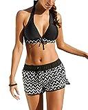 Yonglan Damen Kurven Drucken Sling Bikini Set Bademode Plus Size Schnürung Hohe Taille Push-up Badebekleidung Zweiteilige Strand Badeanzug Schwarz XXL