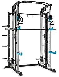 CAPITAL SPORTS Amazor M Rack Gimnasio multifunción (máquina de poleas, barra de dominadas, Safety Spotter, barra pesas larga fija, J-Cups, rack profesional entrenamiento peso)