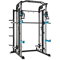 Capital Sports Amazor M/H/P Power Rack • Power Cage • Kraftstation • 2x Safety Spotter: max. 500 kg • 2x J-Cups: max. 350 kg • je 15-/22-/30-stufig • Klimmzuggriffe • Stahlrahmen • schwarz-blau