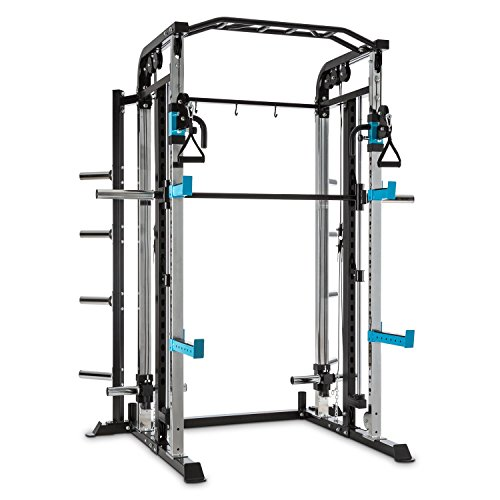 Capital Sports Amazor M Kraftstation Käfig - Power Rack, Power Cage, Gewichthebe- und Klimmzugübungen, höhenverstellbare J-Cups, Safety Spotter, Klimmzuggriffe, Stahlrahmen, schwarz-blau
