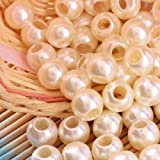 Angel Malone 20 x 12mm CREAM Large Hole Faux Pearl Beads, Leather Kumihimo European Crafts