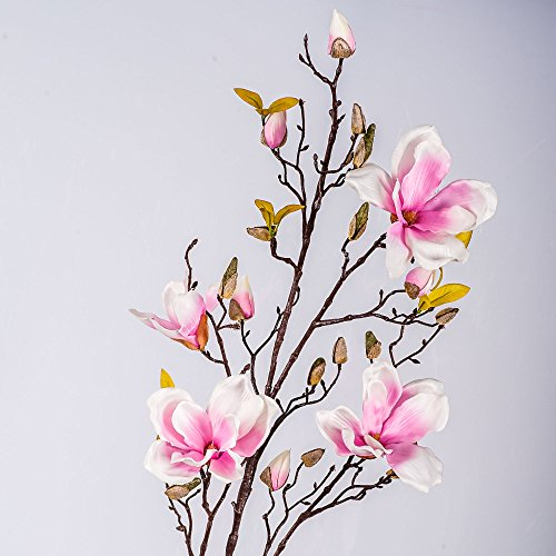 artplants Set 2 x Kunstblume Magnolienzweig LILO, 4 Blüten, Knospen, rosa, 110 cm - 2 Stück Seidenblumen Magnolie/Kunstzweig -