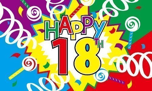 5ft x 3ft (150x 90cm) Happy 18. Geburtstag Material Banner Flagge Picture