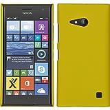 PhoneNatic Case für Nokia Lumia 730 Hülle gelb gummiert Hard-case + 2 Schutzfolien