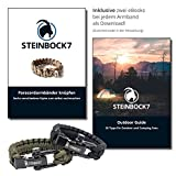 Steinbock7 Paracord Survival Armband, Braun, Edelstahl Verschluss Einstellbar, Inklusive Anleitung zum Flechten -