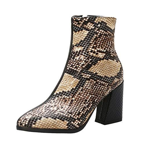 Frauen Chunky Heels Stiefel Winter Stiefeletten Nähte Farbe Schuhe Elegant Absätzen Zehen Blockabsatz Chunky High Heels Boots Party Pumps Schöne Schlangenmuster Braut Party Pumps Warmer Stiefel