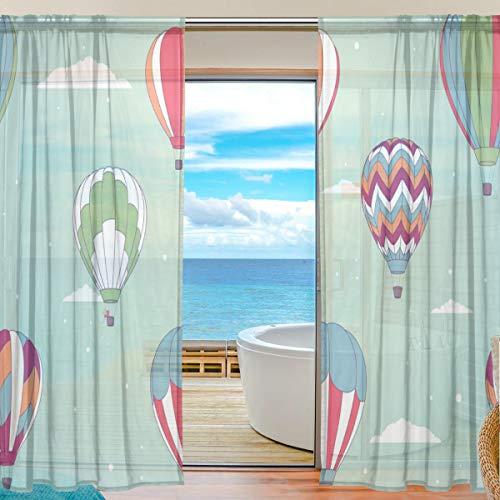 TIZORAX Heißluftballon-Vorhänge aus Polyleinen-Voile, Gardinenstange für Wohnzimmer, Schlafzimmer, 139,7 x 19,8 cm, 2 Paneele, Polyester, Multi, 55