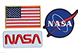 NASA Space Shuttle Pilot Iron-On Patch Super Set 01, Aufnäher Bügelbild , Iron on Patches Applikation , New , Set of 3 patches by ONEKOOL
